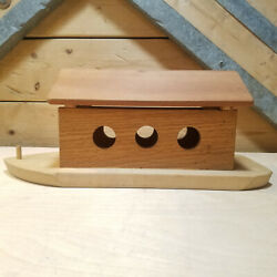 Blonde And Brown Wood Boat Shaped Trinket Box Mini Toy Box Chest Swanky Barn