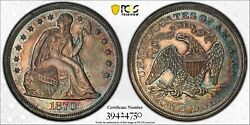 1870 W/motto Proof Seated Dollar Pcgs Pr 61 Lovely Turquoise Magenta And Gold