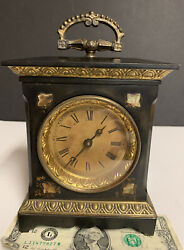 Antique Black Marble Enamel Carriage Alarm Clock Mother Of Pearl Accent Untested