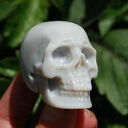 2in Agate Carved Crystal Skull Realistic Gemstone Carving