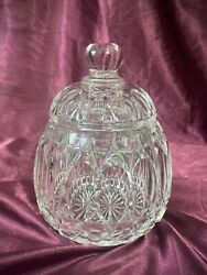 Vintage Heavy European Lead Crystal Canister Cookie Jar With Faceted Lid Euc