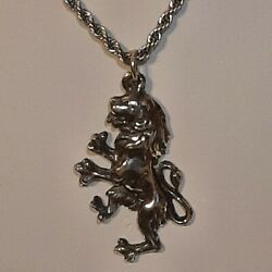 English Lion Pewter Pendant Charm / 24 Stainless Rope Chain Necklace