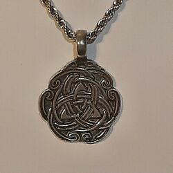 Celtic Knot Pewter Pendant Charm / 24 Stainless Rope Chain Necklace