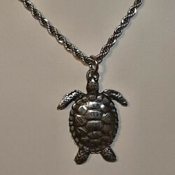 Sea Turtle 🐢 Pewter Pendant Charm / 24 Stainless Rope Chain Necklace