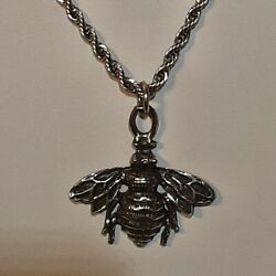 Honey Bee 🐝 Pewter Pendant Charm / 24 Stainless Rope Chain Necklace