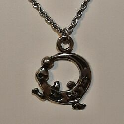 Western Lizard Pewter Pendant Charm / 24 Stainless Rope Chain Necklace