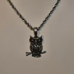 🦉 Owl Pewter Pendant Charm / 24 Stainless Rope Chain Necklace