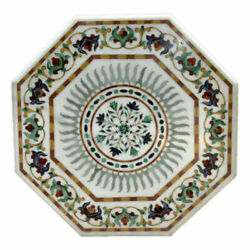 21and039and039 White Marble Table Top Center Corner Lapis Malachite Inlay Decor Antique K2