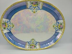 Noritake M-in-wreath Oval Tray Platter Japan Handpainted Floral Iridescent