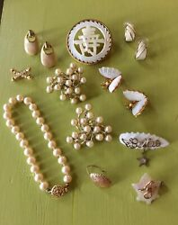 Vtg Estate Jewelry Lot Mother Of Pearl 1940s Army Wwii Sweetheart Pins 14kt Gold