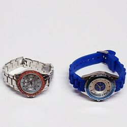 2 Geneva Platinum Watchs Chronograph Women's Silicone And Stainless Steel Bands