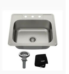 Kitchen Sink Kit 25 In. 3-hole Single Bowl Drop-in Insulated Ss Ktm25