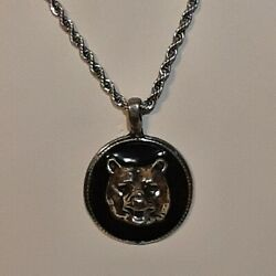 Bear Head Pewter Pendant Charm / 24 Stainless Rope Chain Necklace