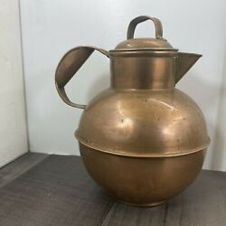 Authentic Antique Copper R C Agnew Guernsey Milk Cream Can Jug With Lid Rare