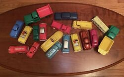Lot Of 18 Vintage Plastic Toy Cars And Trucks Renwal, Premier, Hubley, Lapin