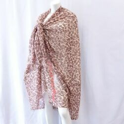 Louis Vuitton Leopard Stall Logo Pink Brown Accessory Large Size T974-200
