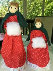 Vintage Victorian Matching Dolls Christmas Decorations Red Lot Of 2 Tall Standup