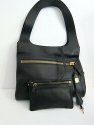 New Tom Ford Large Alexia Zip Pocket Bag W/ Inner Pouch Black/gold