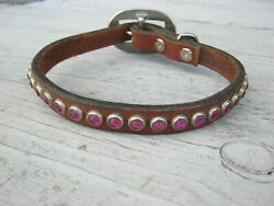 Leather Repurposed Dog Collar Medium Dog Brown Leather Pink Crystals Spots