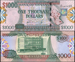Guyana 1000 Dollars. Nd 2011 Unc. Banknote Cat P.39a