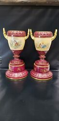Pair Of Antique Royal Vienna Hand Painted Porcelain Urns/vases, Beehive Mark
