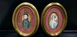 Rare Pair Of Antique Miniature Portraits Of Lady And Officer Signed