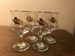 Vintage Set Of 4 Fall Pheasant Design Clear Wine Glasses W/ Gold Trim 6.25 Tall