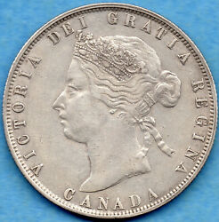 Canada 1872 H Inv A/v 50 Cents Fifty Cents Silver Coin - Vf/ef