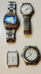 Lot Of 4 Watches Timex , Fosil As Is For Parts Or Not Working