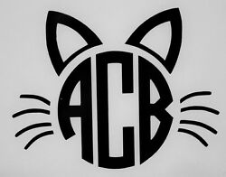 Cat Face Initial Monogram for Cups Laptops COLORS Car Window Vinyl Decal Sticker $4.50