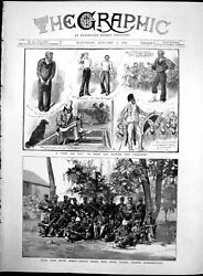 Antique Old Print Entertainment On Boscawen Basuto Police South Africa 1882