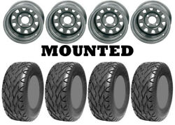 Kit 4 Ams Street Fox Tires 23x10-12 On Itp Delta Steel Silver Wheels Can