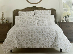 Rachel Ashwell The Farmhouse Floral White Brown Full/queen Reversible Quilt New