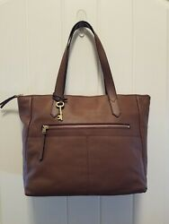 FOSSIL Sydney Shopper Caramel Pebbled LEATHER Tote Bag Large Pristine Condition