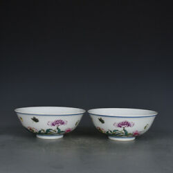 6old Dynasty Porcelain Yongzheng Mark Pair Colour Enamels Butterfly Flowers Cup