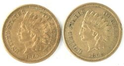 Lot Of 2 1859 And 1860 Indian Head Penny Us Copper Nickel One Cent Coin Nice Grade