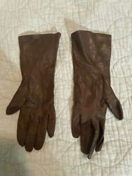 Vintage Italian Leather Gloves 100% Silk Interior Brown Made in Italy