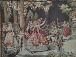 TAPESTRY VINTAGE 30.5quot; X 18.5quot;  WALL or TABLE BUFFET TOP quot;Dancing Couplesquot;