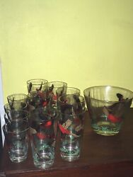 Vintage Pheasant Mixed Drink Glasses 13 And Ice Bowl