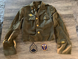 Authentic Original Wwii 4th Air Force Us Army Jacket W Patches Sergeant Corporal