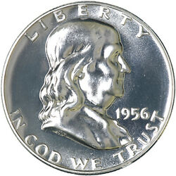 1956 Franklin Half Dollar Gem 90 Silver Proof Coin Type 1 See Pics J597