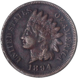 1894 Indian Head Cent Fine Penny Fn Dark See Pics C126