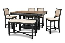 Upholstered Chairs Rectangular Table Bench Black 6pc Set Storage Counter Height