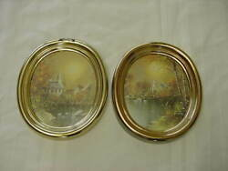 Pair Of Oval Swan Lake Pictures 1985 Usa Homco Home Interior
