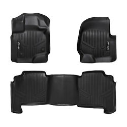 Smartliner Custom 1st And 2nd Row Floor Mats Set Black For 2004-08 Ford F150 Crew