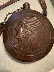 Antique Copper Canteen Water Vessel Embossed Native American Chief Head Dress