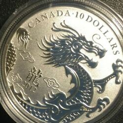 2012 Canada 10 Silver 999 Coin Year Of The Dragon China Dragon
