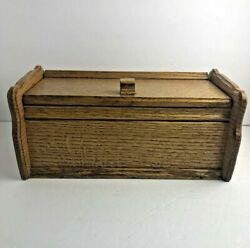 Vintage Wood Double Recipe Box Two Sections Brown Trinket Storage