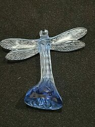 MINT Lalique Art Lead Crystal Blue Dragonfly in Flight Figurine Signed Authentic