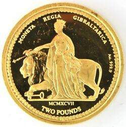 1997 Gibraltar 2 Pounds Gold 999.9 1/2oz Coin Una And The Lion Proof Elizabeth Ii